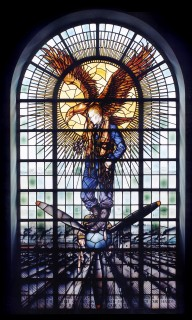Fig. 1. Battle of Britain Memorial window, Derby, courtesy of the Rolls-Royce Heritage Trust.