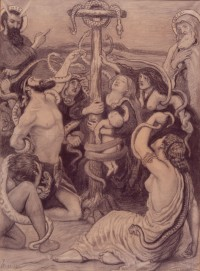 Fig. 2. The Brazen Serpent, 1872. (1878). Cartoon for stained glass, black chalk and wash. Private collection, on loan to Manchester City Galleries. ©Manchester City Galleries