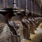 Fig. 2. Sixteenth-century choir stalls with misericords, Manchester Cathedral.