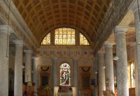 Fig. 1. St Lawrence, Mereworth: interior showing Diocletian window, with Victorian altar window below