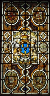 Fig. 2. Large armorial window in the Despencer chapel with the achievement of John Fane, Earl of Westmoreland and arms of his forbears