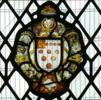 Fig. 2. Sixteenth-century panel depicting the arms of the See of Worcester: Argent ten Torteaux, in a quarter gules our Lady with the Saviour in her arms, south nave aisle, Worcester Cathedral.