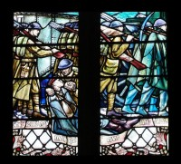 Fig. 1. St Andrew's UR Church, Hampstead, Douglas Strachan memorial window: detail of a British soldier tending a wounded German.