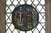 Fig. 5. St Birinus receiving a cross-staff from an archbishop, mid-thirteenth century, Abbey of St Peter and Paul, Dorchester.