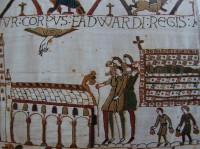 Fig. 5: Depiction of Edward the Confessor's corpse being carried to Westminster Abbey in the Bayeux Tapestry
