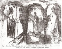 Fig. 9: Drawing of St Wulfstan and the Miracle of the Crozier, discovered in 1862 on the wall arcade of the fifth aisle bay from the east, south nave aisle, Norwich Cathedral; drawn by F.B. Russel.