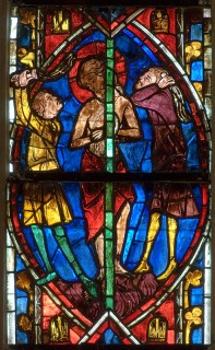 Fig. 1. The Flagellation, Tours Cathedral: one of many superb photographs of medieval stained glass by Dr Watling that feature in his thesis.