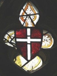 Fig. 15. North Tuddenham, church of St Mary: shield with the arms of St Michael, c.1420–30. (c) M. Dixon