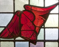 Fig. 18. Angel in east window of the vestry.