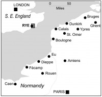 Fig. 1. Location map showing Rye, the English Channel, and locations in northern France, including Fécamp.