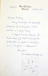 Fig. 6. One of Woodforde's letters to Cecil Farthing, with a sketch of glass at Withcote.