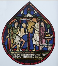 Fig. 1. Canterbury Cathedral, nIII 40: the cure of Godwin, a leper from Boxgrove Priory.