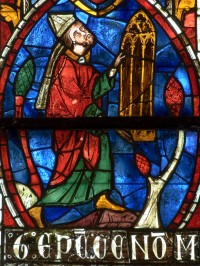 Fig. 1. Bishop Geoffroy Freslon of Le Mans presenting his window.
