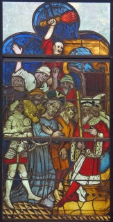 Fig. 1. Christ before Pilate panel, from the Life of Christ and the Virgin window, Burrell Collection.