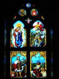 Fig. 1. Chapel glazing: nave window by Kellner of Nuremberg, 1840.