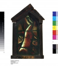 Fig. 2. Geoffrey Clarke, St Sebastian, 1949, Stained glass (leaded), 40.5 x 24.5 x 7.2cm.