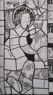 Fig 4. Line drawing by Elsie Matley Moore of a fifteenth-century angel Gabriel, church of St Martin, Holt (Worcestershire), made for Mary Green.