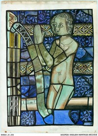 Fig. 6. Watercolour of a composite figure, possibly a Last Judgement soul with an intruded head, probably a donor, Tewkesbury Abbey (Gloucestershire), by Elsie Matley Moore. ©English Heritage Archive, reproduced with permission