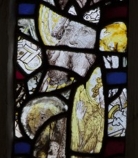 Fig. 3. Winchester, church of St John-in-the-Soke: head of a man with a forked beard. Le Couteur dated the glass to c.1460 and wondered if it depicted St John.