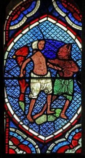 Fig. 1. Wilton Church, east window: the Prodigal Son is led away