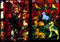 Fig. 1. Erfurt Cathedral, Genesis Window, sII 4a–b, the Creation of the Animals, c.1370 (c) CVMA Deutschland/Potsdam