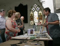 Fig. 1. Keith Barley, conservation advisor to the British CVMA, at the Stained Glass Centre.