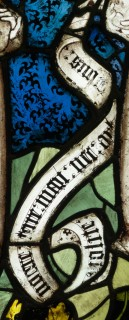 Fig. 1. Inscription from the Great East Window at York Minster, from the panel depicting the Angels with the Winds and the Seal (Revelation VII, 1-3): ': Nolite : / : nocere : / terre : mari : nec : arb/[o]ribus :' ('Hurt not the earth, neither the sea, nor the trees').