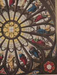 Fig. 5. Detail of hand-coloured aquatint of the window, 1812, showing St John and the eagle.