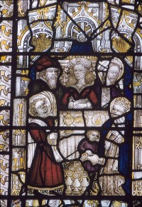 Fig. 1. Scene from panel 3d of the East Window at the church of St Peter and St Paul, East Harling, Norfolk, CVMA Picture Archive.