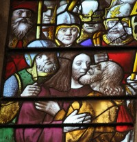 Fig. 21. Detail from the Passion windows in the chapel of King's College Cambridge. (Photograph: the author)