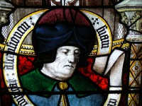 Fig. 25. Detail of a prophet from the east gable window, Winchester Cathedral. (Photograph: the author, copyright Dean and Chapter Winchester Cathedral)