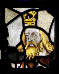 Fig. 34. Face of a king from the great west window of Winchester Cathedral. (Photograph: Gordon Plumb)
