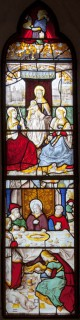 Fig. 2. Perhaps the St Gregory Master, The Mystic Marriage of St Catherine, probably 1520s, and (below) probably the workshop of the St Gregory Master, Christ Anointed at the House of a Pharisee, c.1519–22, Church of St Gwenllwyfo, Llanwenllwyfo.