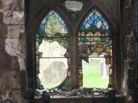 Fig. 3. Timsbury Church: damaged window by Andrew Taylor at west end. By permission of Gary Seymour RIBA