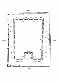 Fig. 1. Plan of the Steinfeld cloister, after King 1998. The windows studied in detail are shown in red. (Katie Harrison)