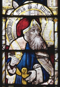 Fig. 1. Micah from Window 18 depicting old Testament prophets holding the Prophets' Creed, c. 1500-15, church of St Mary, Fairford.