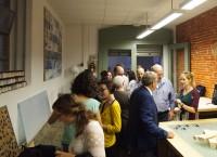 Fig. 5. Speakers and delegates visiting Anna Santolaria's workshop, Taller de conservació de vitralls Can Pinyonaire. Photograph © Enric Teruel López