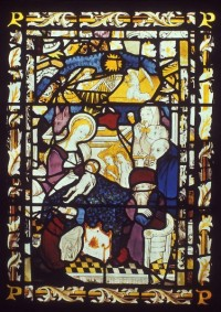Fig. 1. St Peter Mancroft, Norwich, The Nativity, East Window, panel 2c.