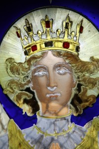 Fig. 5. Vallgorguina, private chapel: window depicting the Archangel Michael, head.