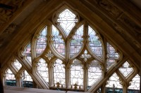 Fig.2. The top section of the tracery of The Great East Window with newly installed Lamberts UV restauro © protective glass