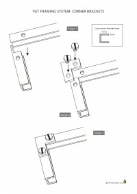 Fig.3. A diagram of the corner bracket fixings for the stained glass frames