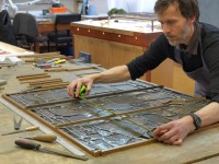 Fig.5. Nick Teed working on the manufacture of a Great East Window frame