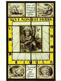 Fig.10. Framed Henry Gyles sundial panel in transmitted light (Image reproduced with the kind permission of York City Art Gallery)