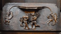 Fig. 7. Ludlow, St Laurence: misericord depicting the dishonest alewife. © Author