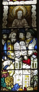 Fig. 10. Ludlow, St Laurence, south-east window of the choir, Ten Commandments (Decalogue) window: panel depicting the commandment 'Thou shalt not covet thy neighbour's house'. © Author