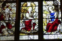 Fig. 13. Ludlow, St Laurence, St John's Chapel, the Lord's Prayer (Paternoster) and the Salutation (Ave Maria) window: detail showing the Salutation inscribed on St Gabriel's scroll. © Author