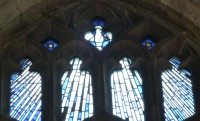 Fig. 15. Ludlow, St Laurence, St John's Chapel, Creed (credo) window: detail showing the Holy Ghost at the apex. © Author