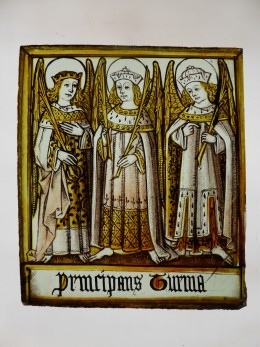 Fig. 2. The Principalities, late 15th century stained glass panels (English), 154mm x 178mm. © The Stained Glass Museum (ELYGM:2015.7.2)