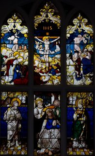 Fig. 2. Noak Hill, St Thomas: I (east window); 1a c, seventeenth-century glass from Rouen; 2a c, glass to a 1535 design of Peter Coecke from Notre-Dame-au-Lac, Tirlemont, Belgium.