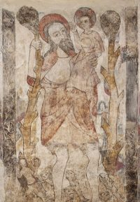 Fig. 8: Fifteenth-century wall painting of St Christopher, Slapton church, Northants.